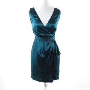 Banana Republic green silk faux wrap dress 4P